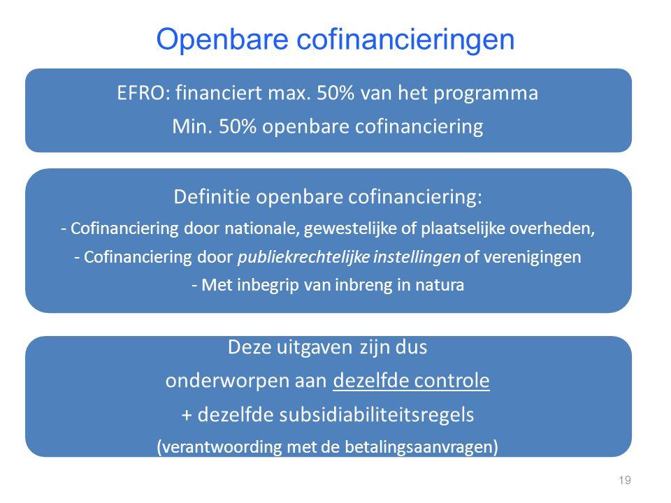 Openbare cofinancieringen EFRO: financiert max. 50% van het programma Min. 50% openbare cofinanciering Definitie openbare cofinanciering: - Cofinancie