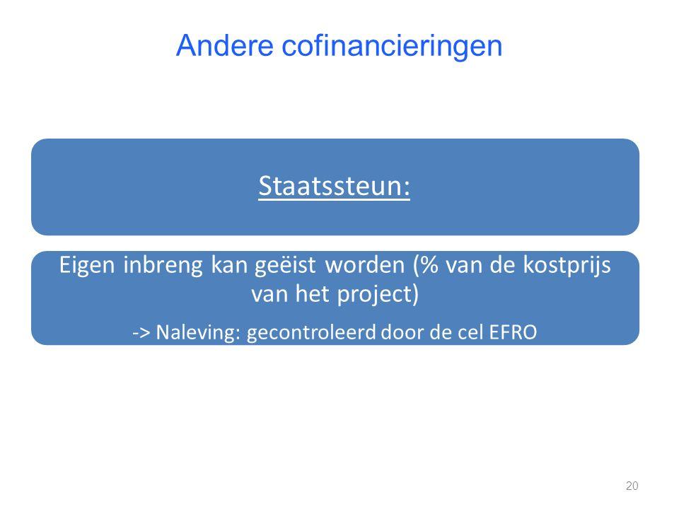 Andere cofinancieringen Staatssteun: Eigen inbreng kan geëist worden (% van de kostprijs van het project) -> Naleving: gecontroleerd door de cel EFRO