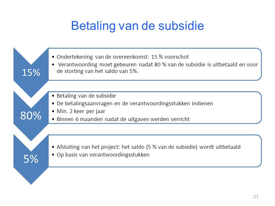 Betaling van de subsidie 15% Ondertekening van de overeenkomst: 15 % voorschot Verantwoording moet gebeuren nadat 80 % van de subsidie is uitbetaald en voor de storting van het saldo van 5%.