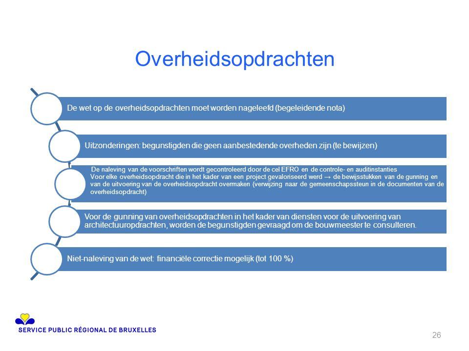 Overheidsopdrachten De wet op de overheidsopdrachten moet worden nageleefd (begeleidende nota) Uitzonderingen: begunstigden die geen aanbestedende ove