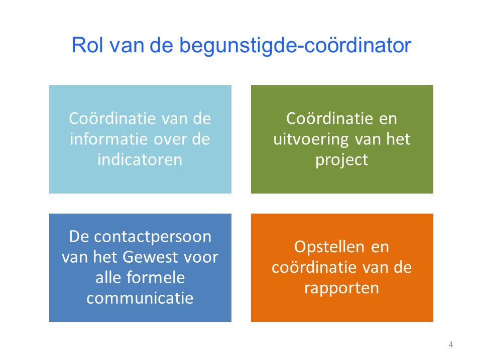 Rol van de begunstigde-coördinator Coördinatie van de informatie over de indicatoren Coördinatie en uitvoering van het project De contactpersoon van het Gewest voor alle formele communicatie Opstellen en coördinatie van de rapporten 4