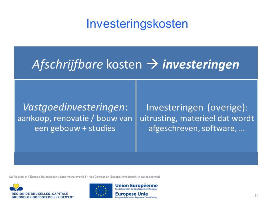 Investeringskosten Afschrijfbare kosten  investeringen Vastgoedinvesteringen: aankoop, renovatie / bouw van een gebouw + studies Investeringen (overige) : uitrusting, materieel dat wordt afgeschreven, software, … 9