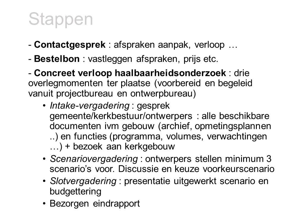 Financieel -Begeleiding : gratis (financiering samenwerkingsverband) -Factuur ontwerper : na oplevering eindrapport rechtstreeks door de gemeente/kerkbestuur te betalen -Ontwerpers aangesteld binnen Vlaamse raamovereenkomst (geen procedure voor gemeente, drukken prijs via 'samenaankoop') -3 categorieën : richtprijs - 12.000 – 16.000 – 20.000 € (excl BTW) – zie verder -Subsidie op deze factuur : gebundelde opvolging van toegang tot Vlaamse subsidies (30% via eredienstdecreet of 80 % erfgoeddecreet) of in sommige regio's eventueel lokaal inzetbare Europese subsidies