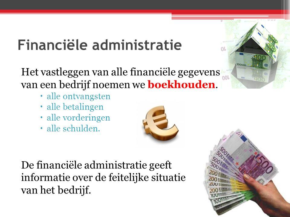 Financiële administratie Het vastleggen van alle financiële gegevens van een bedrijf noemen we boekhouden.