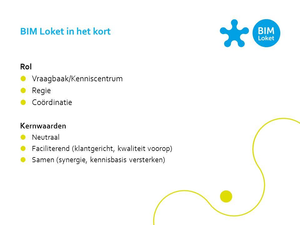 BIM Loket in het kort Rol  Vraagbaak/Kenniscentrum  Regie  Coördinatie K ernwaarden  Neutraal  Faciliterend (klantgericht, kwaliteit voorop)  Samen (synergie, kennisbasis versterken)