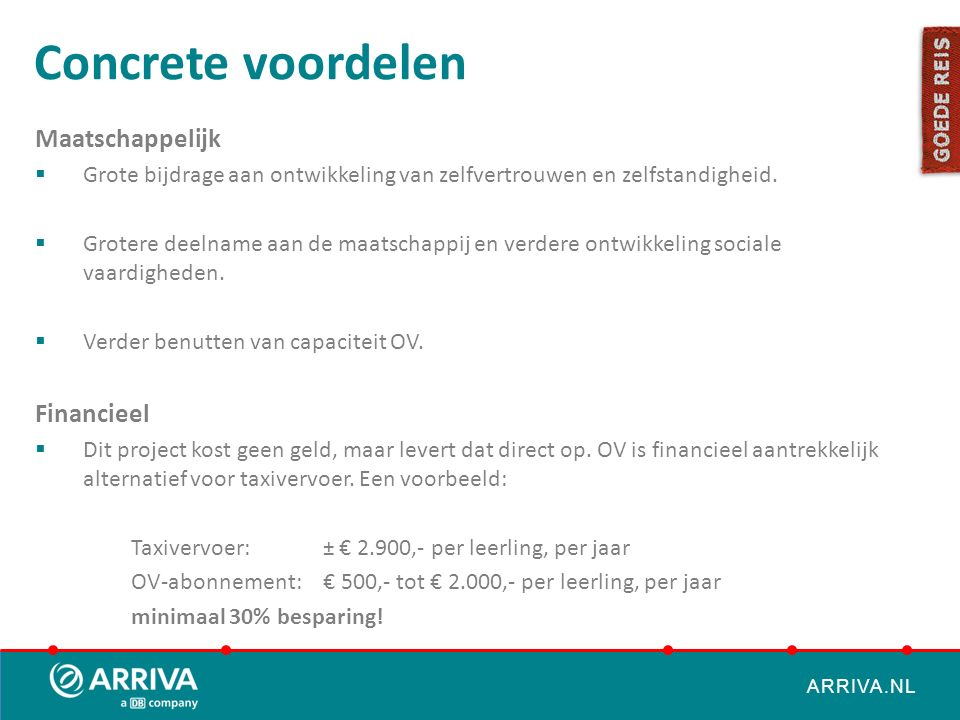 ARRIVA.NL Concrete voordelen Maatschappelijk  Grote bijdrage aan ontwikkeling van zelfvertrouwen en zelfstandigheid.  Grotere deelname aan de maatsc