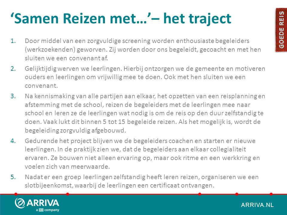 ARRIVA.NL 'Samen Reizen met…'– het traject 1.Door middel van een zorgvuldige screening worden enthousiaste begeleiders (werkzoekenden) geworven. Zij w