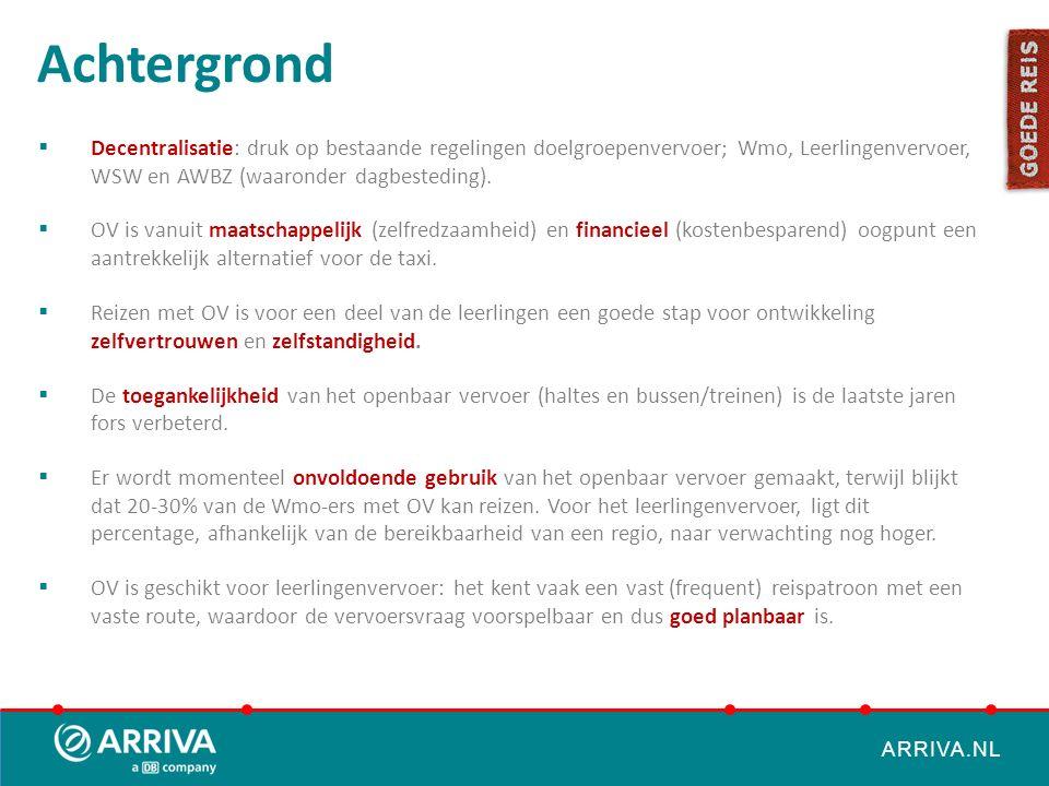 ARRIVA.NL Achtergrond  Decentralisatie: druk op bestaande regelingen doelgroepenvervoer; Wmo, Leerlingenvervoer, WSW en AWBZ (waaronder dagbesteding)