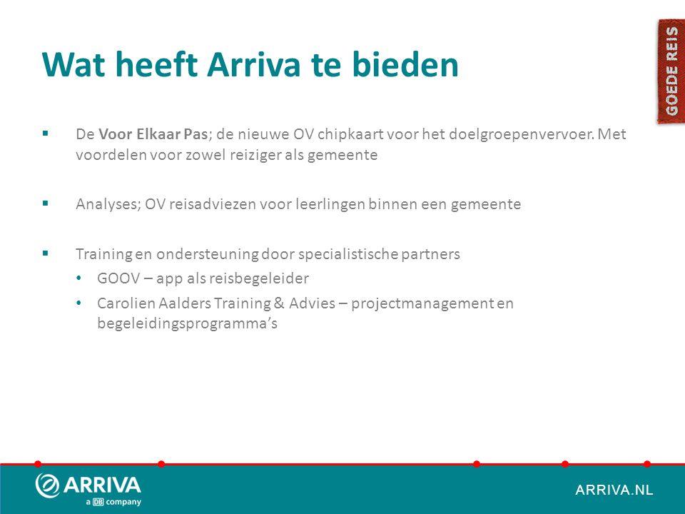 ARRIVA.NL Wat heeft Arriva te bieden  De Voor Elkaar Pas; de nieuwe OV chipkaart voor het doelgroepenvervoer. Met voordelen voor zowel reiziger als g