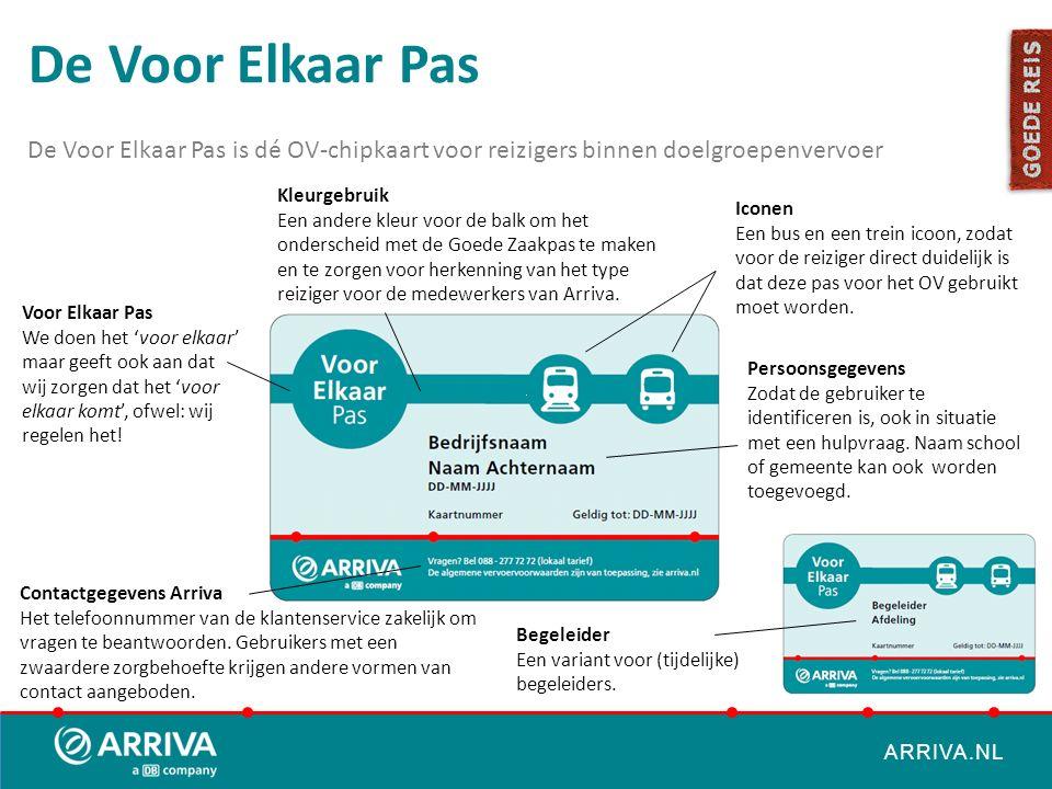 ARRIVA.NL De Voor Elkaar Pas is dé OV-chipkaart voor reizigers binnen doelgroepenvervoer Voor Elkaar Pas We doen het 'voor elkaar' maar geeft ook aan