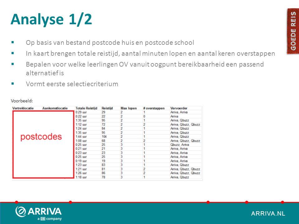 ARRIVA.NL Analyse 1/2  Op basis van bestand postcode huis en postcode school  In kaart brengen totale reistijd, aantal minuten lopen en aantal keren