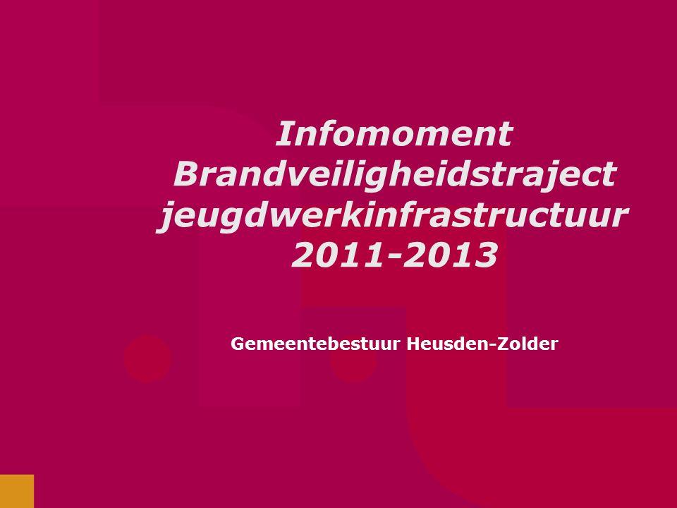 Infomoment Brandveiligheidstraject jeugdwerkinfrastructuur 2011-2013 Gemeentebestuur Heusden-Zolder
