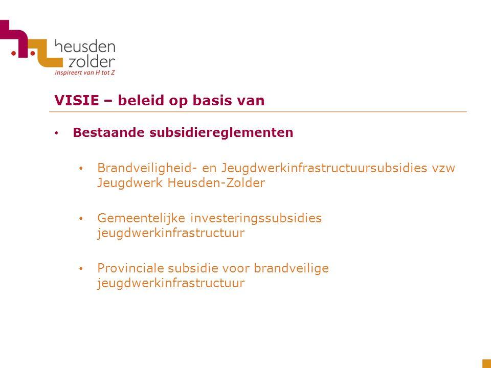 VISIE – beleid op basis van Bestaande subsidiereglementen Brandveiligheid- en Jeugdwerkinfrastructuursubsidies vzw Jeugdwerk Heusden-Zolder Gemeenteli