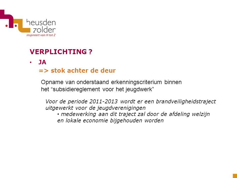 VERPLICHTING ? JA => stok achter de deur Voor de periode 2011-2013 wordt er een brandveiligheidstraject uitgewerkt voor de jeugdverenigingen medewerki