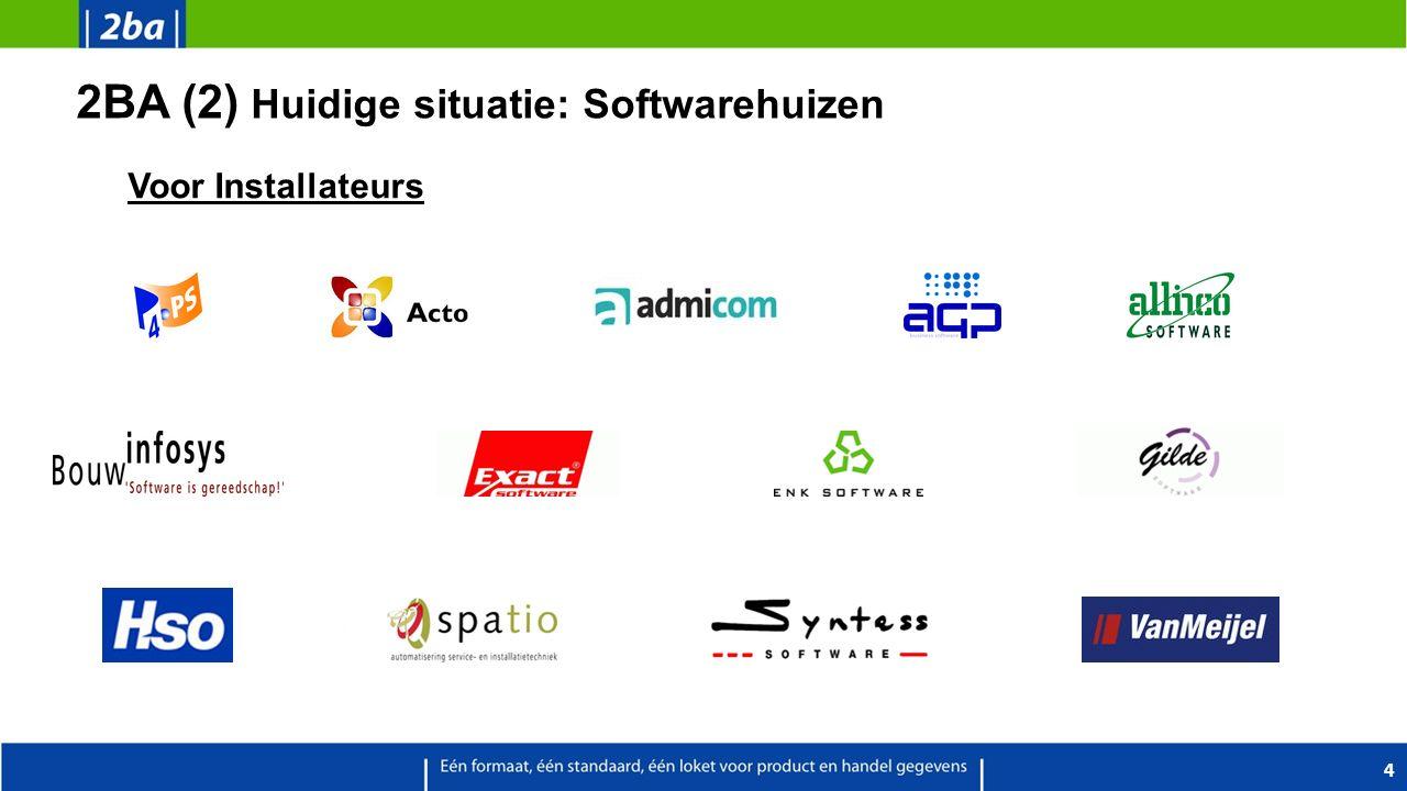 2BA (2) Huidige situatie: Softwarehuizen 4 Voor Installateurs