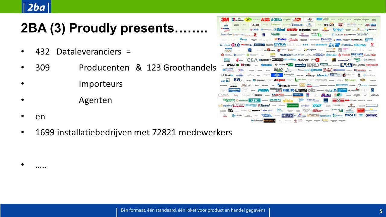 2BA (3) Proudly presents…….. 432 Dataleveranciers = 309Producenten & 123 Groothandels Importeurs Agenten en 1699 installatiebedrijven met 72821 medewe