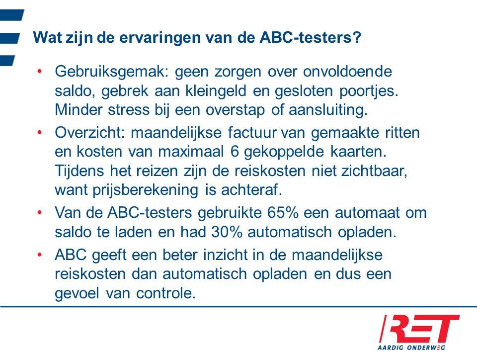 Wat zijn de ervaringen van de ABC-testers.