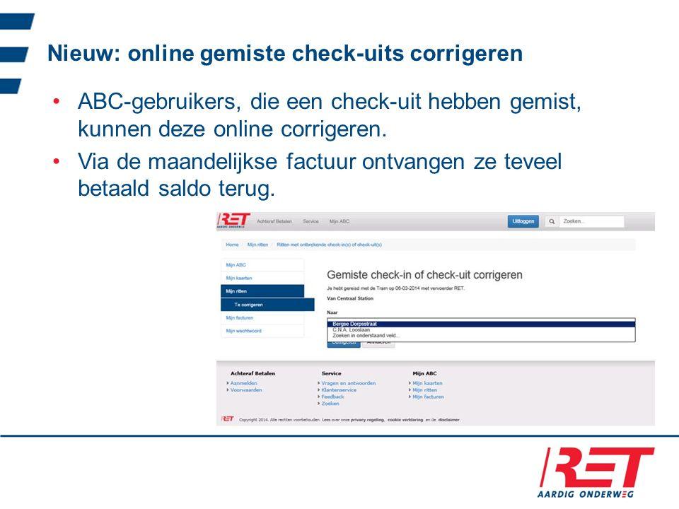 Nieuw: online gemiste check-uits corrigeren ABC-gebruikers, die een check-uit hebben gemist, kunnen deze online corrigeren.