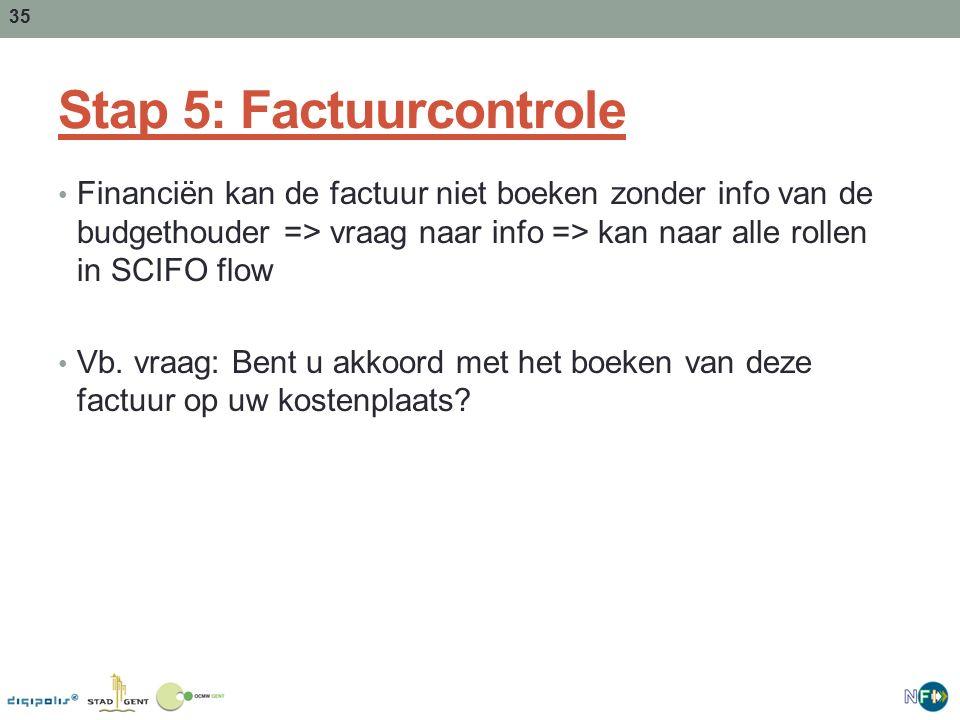 35 Stap 5: Factuurcontrole Financiën kan de factuur niet boeken zonder info van de budgethouder => vraag naar info => kan naar alle rollen in SCIFO flow Vb.