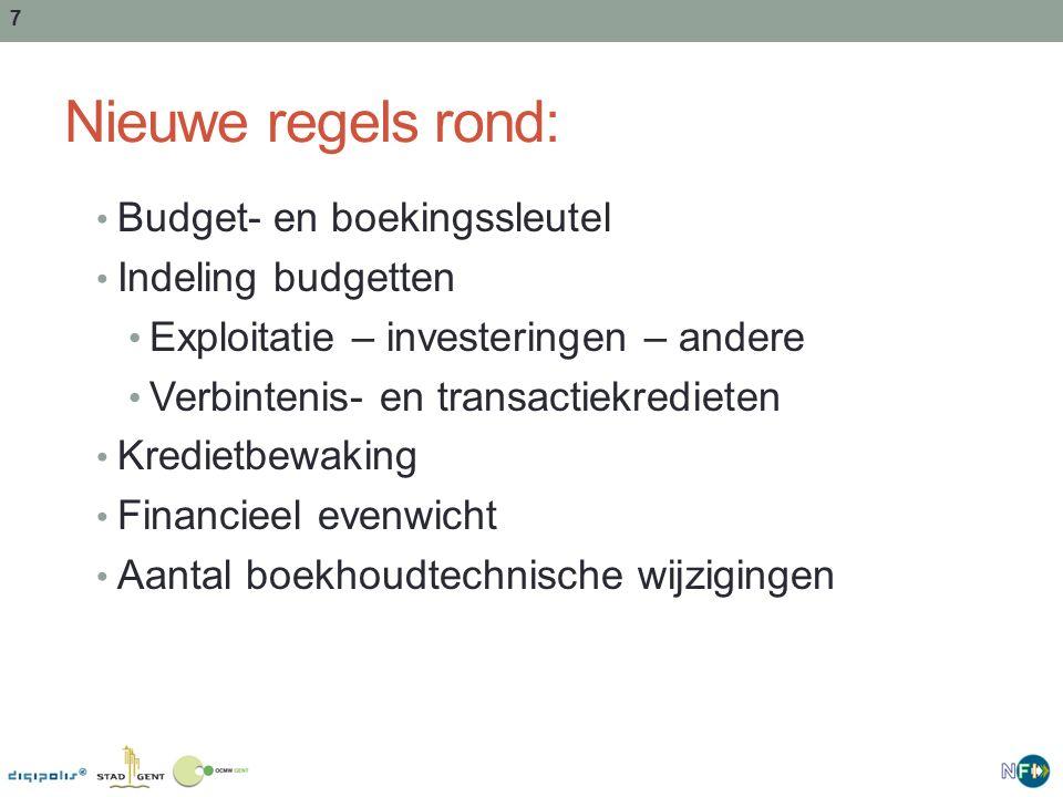 7 Nieuwe regels rond: Budget- en boekingssleutel Indeling budgetten Exploitatie – investeringen – andere Verbintenis- en transactiekredieten Kredietbewaking Financieel evenwicht Aantal boekhoudtechnische wijzigingen