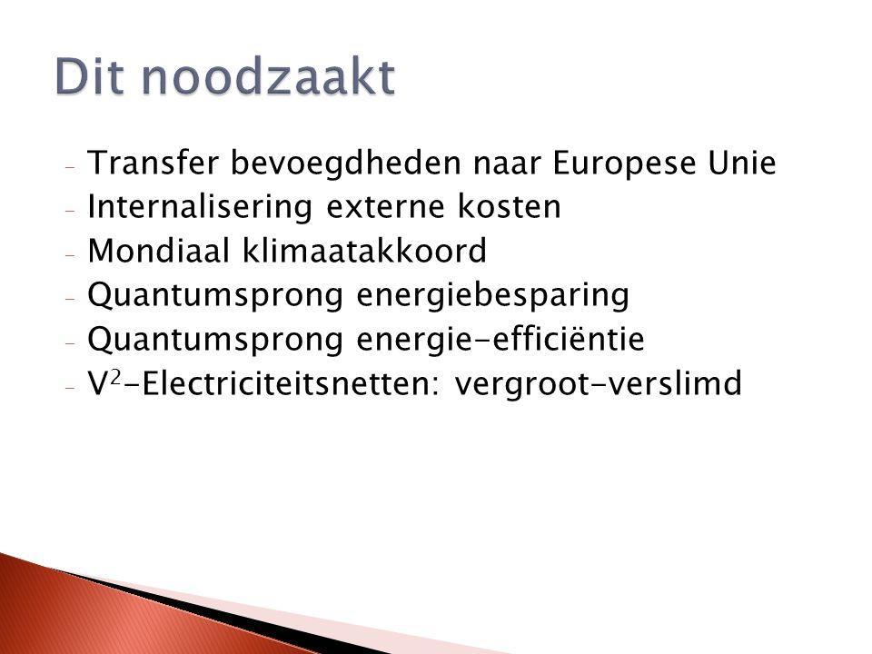 - Transfer bevoegdheden naar Europese Unie - Internalisering externe kosten - Mondiaal klimaatakkoord - Quantumsprong energiebesparing - Quantumsprong energie-efficiëntie - V 2 -Electriciteitsnetten: vergroot-verslimd