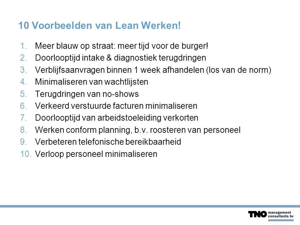 10 Voorbeelden van Lean Werken. 1.Meer blauw op straat: meer tijd voor de burger.