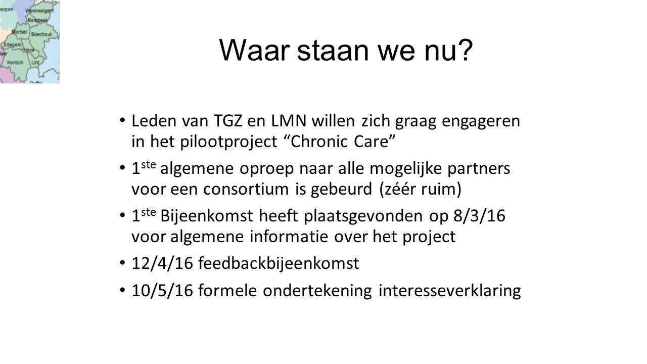 """Waar staan we nu? Leden van TGZ en LMN willen zich graag engageren in het pilootproject """"Chronic Care"""" 1 ste algemene oproep naar alle mogelijke partn"""