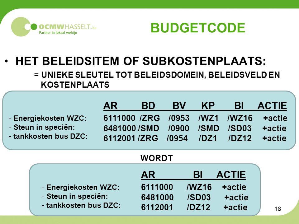 BUDGETCODE HET BELEIDSITEM OF SUBKOSTENPLAATS: = UNIEKE SLEUTEL TOT BELEIDSDOMEIN, BELEIDSVELD EN KOSTENPLAATS AR BD BV KP BI ACTIE 6111000 /ZRG /0953 /WZ1 /WZ16 +actie 6481000 /SMD /0900 /SMD /SD03 +actie 6112001 /ZRG /0954 /DZ1 /DZ12 +actie WORDT - Energiekosten WZC: - Steun in speciën: - tankkosten bus DZC: - Energiekosten WZC: - Steun in speciën: - tankkosten bus DZC: AR BI ACTIE 6111000 /WZ16 +actie 6481000 /SD03 +actie 6112001 /DZ12 +actie 18