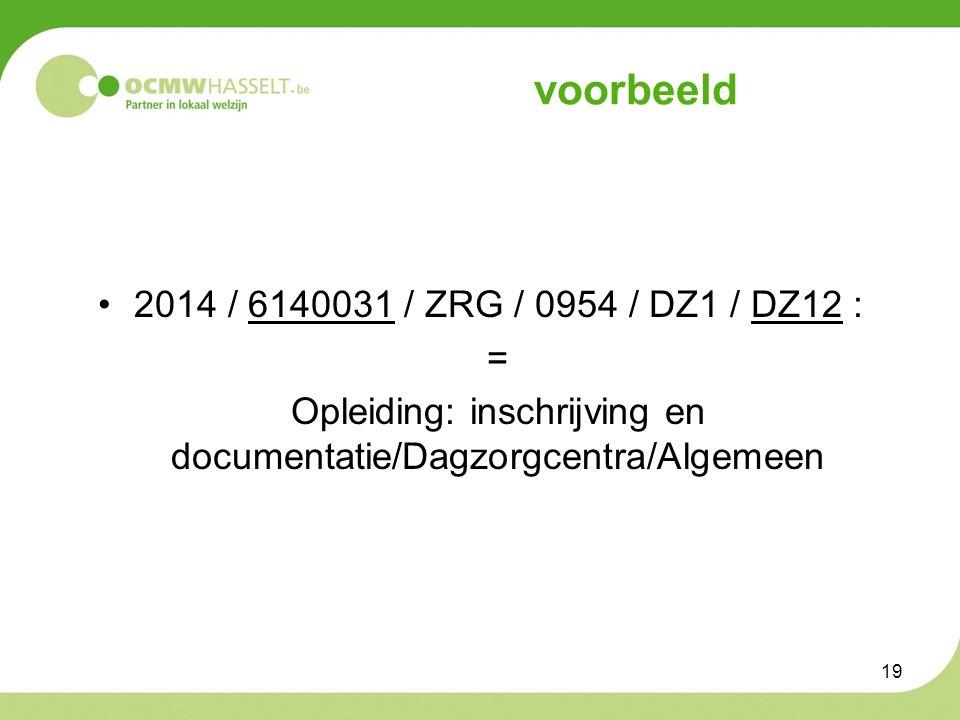 voorbeeld 2014 / 6140031 / ZRG / 0954 / DZ1 / DZ12 : = Opleiding: inschrijving en documentatie/Dagzorgcentra/Algemeen 19