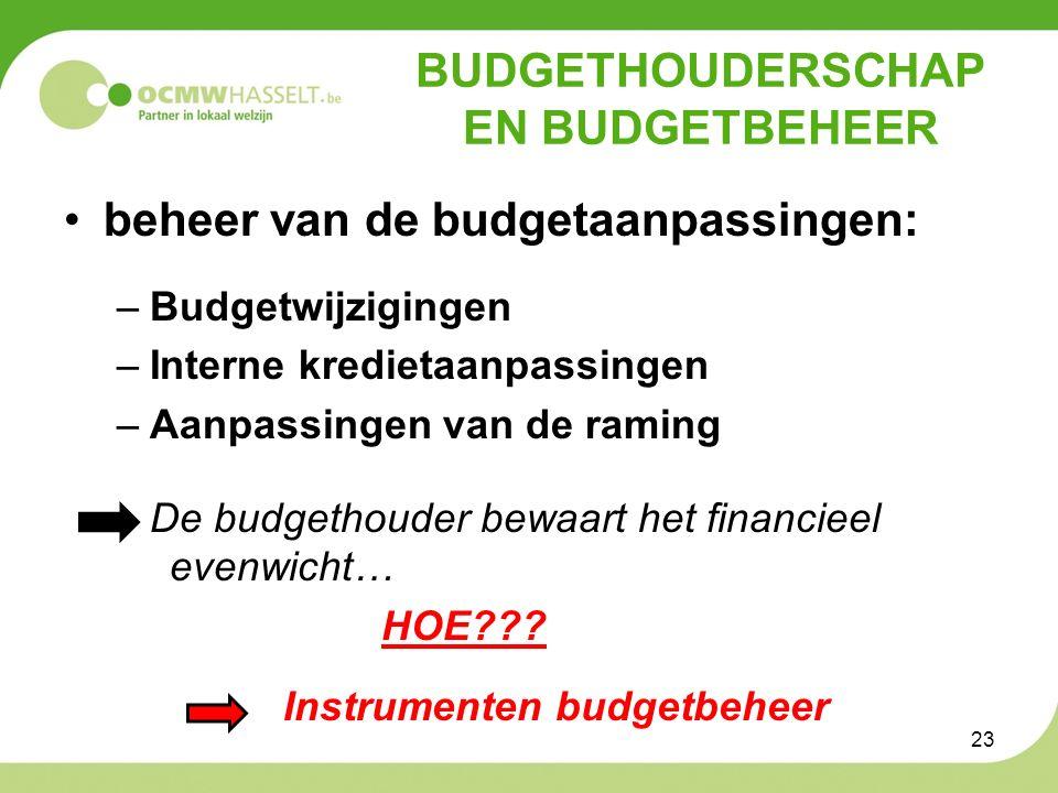 BUDGETHOUDERSCHAP EN BUDGETBEHEER beheer van de budgetaanpassingen: –Budgetwijzigingen –Interne kredietaanpassingen –Aanpassingen van de raming De budgethouder bewaart het financieel evenwicht… HOE??.