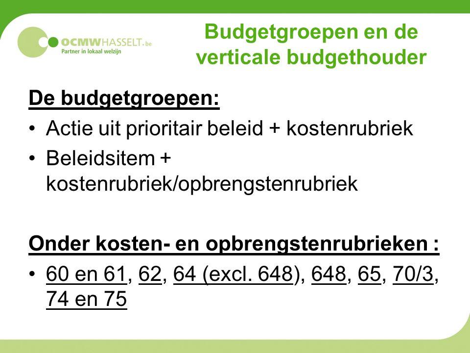 Budgetgroepen en de verticale budgethouder De budgetgroepen: Actie uit prioritair beleid + kostenrubriek Beleidsitem + kostenrubriek/opbrengstenrubriek Onder kosten- en opbrengstenrubrieken : 60 en 61, 62, 64 (excl.