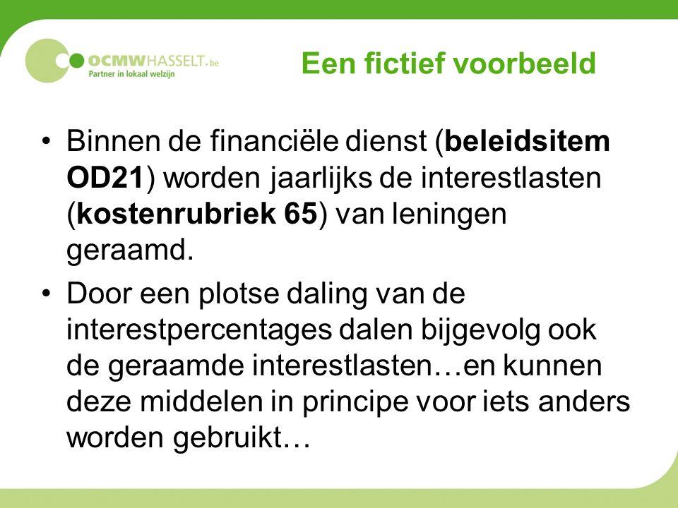 Een fictief voorbeeld Binnen de financiële dienst (beleidsitem OD21) worden jaarlijks de interestlasten (kostenrubriek 65) van leningen geraamd.