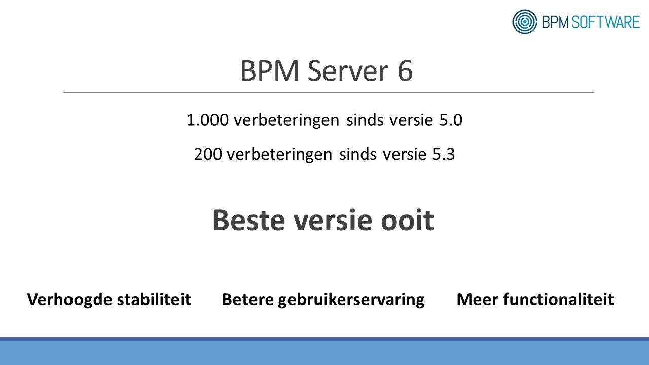 Beste versie ooit Verhoogde stabiliteitMeer functionaliteitBetere gebruikerservaring 1.000 verbeteringen sinds versie 5.0 200 verbeteringen sinds versie 5.3 BPM Server 6
