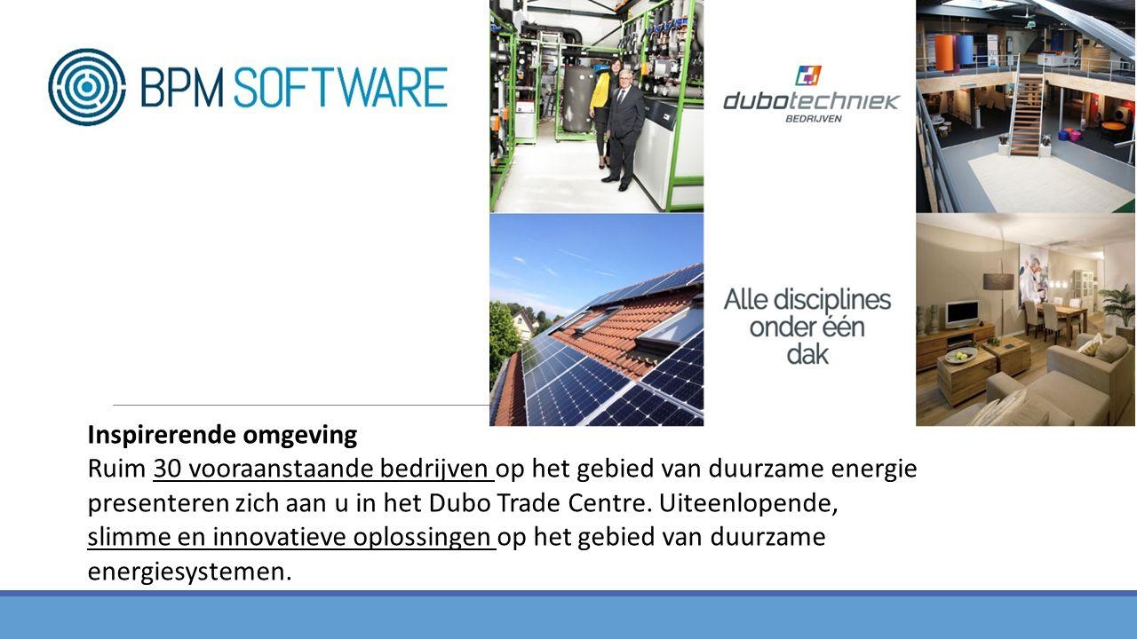 Inspirerende omgeving Ruim 30 vooraanstaande bedrijven op het gebied van duurzame energie presenteren zich aan u in het Dubo Trade Centre.