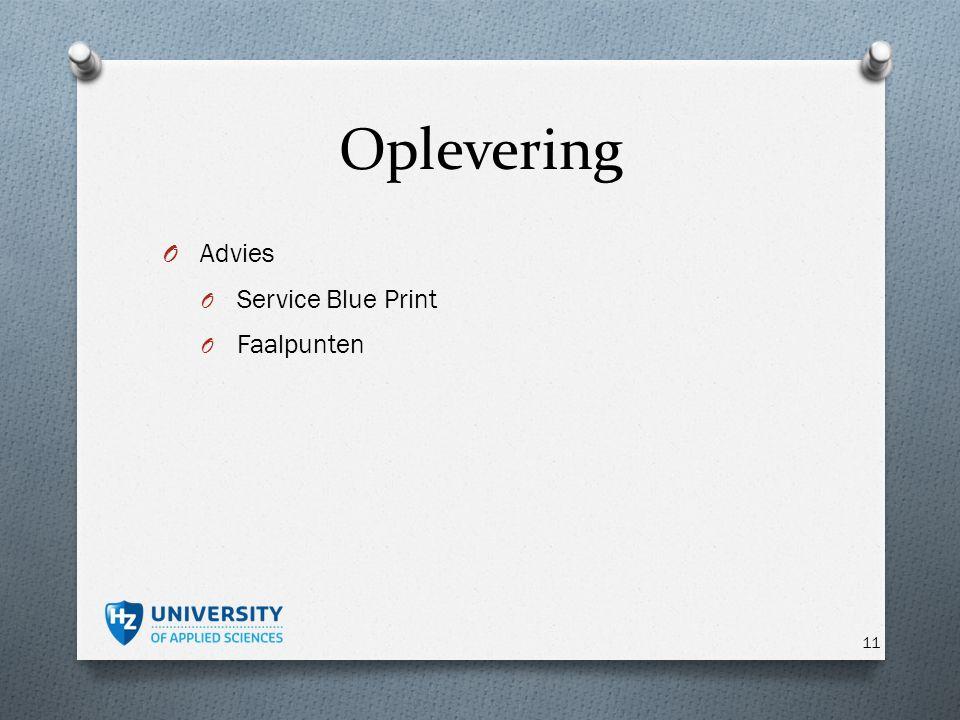Oplevering O Advies O Service Blue Print O Faalpunten 11