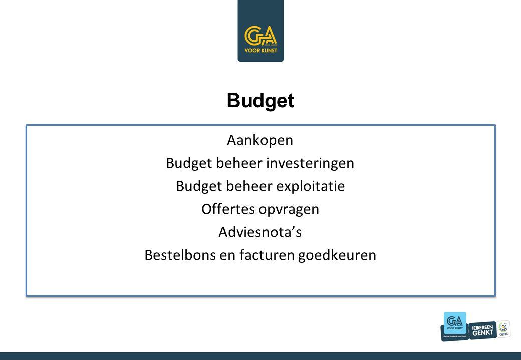 Budget Aankopen Budget beheer investeringen Budget beheer exploitatie Offertes opvragen Adviesnota's Bestelbons en facturen goedkeuren Aankopen Budget beheer investeringen Budget beheer exploitatie Offertes opvragen Adviesnota's Bestelbons en facturen goedkeuren