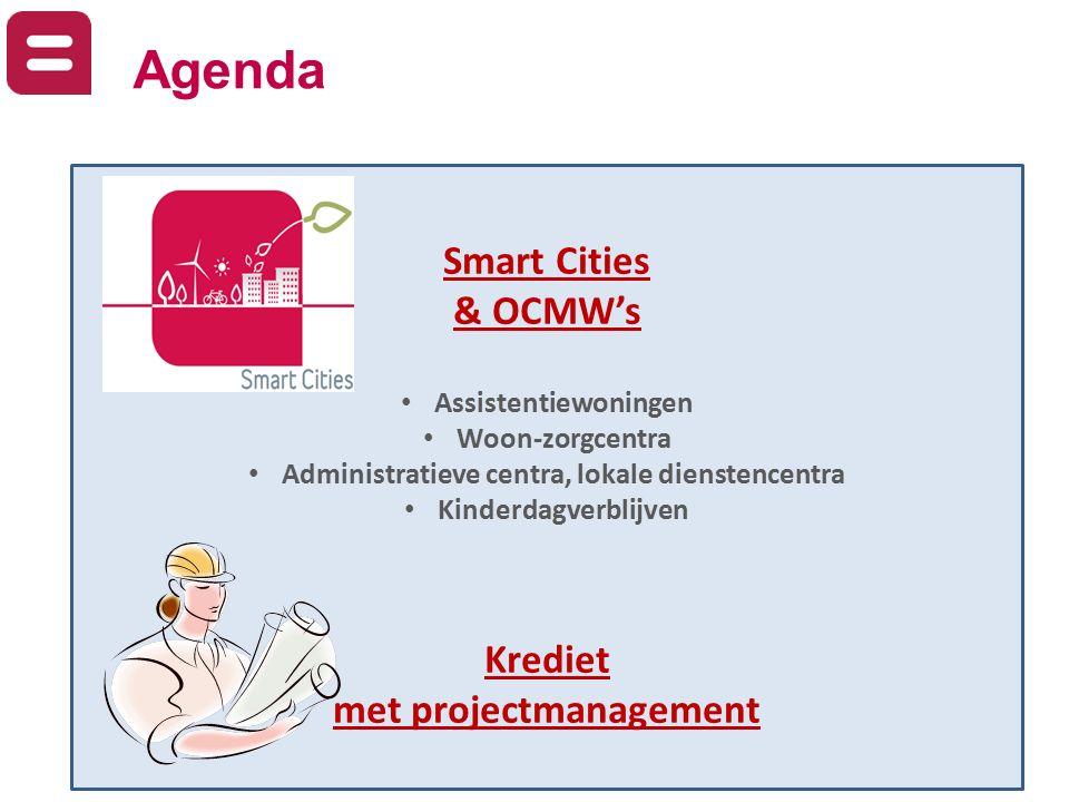 Agenda Smart Cities & OCMW's Assistentiewoningen Woon-zorgcentra Administratieve centra, lokale dienstencentra Kinderdagverblijven Krediet met project