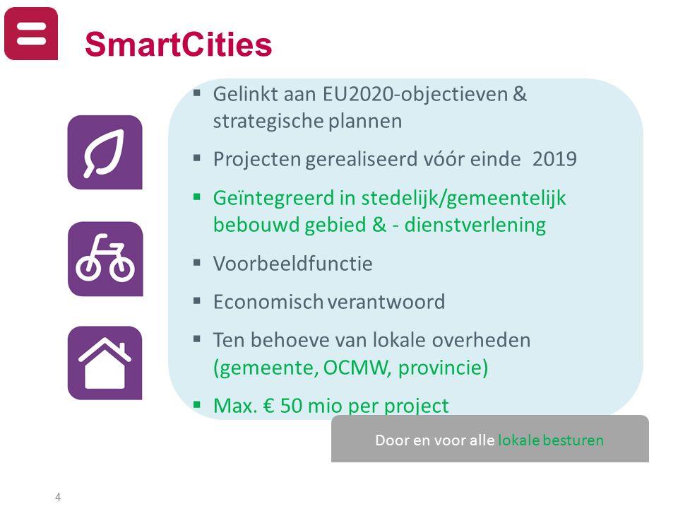 4  Gelinkt aan EU2020-objectieven & strategische plannen  Projecten gerealiseerd vóór einde 2019  Geïntegreerd in stedelijk/gemeentelijk bebouwd ge