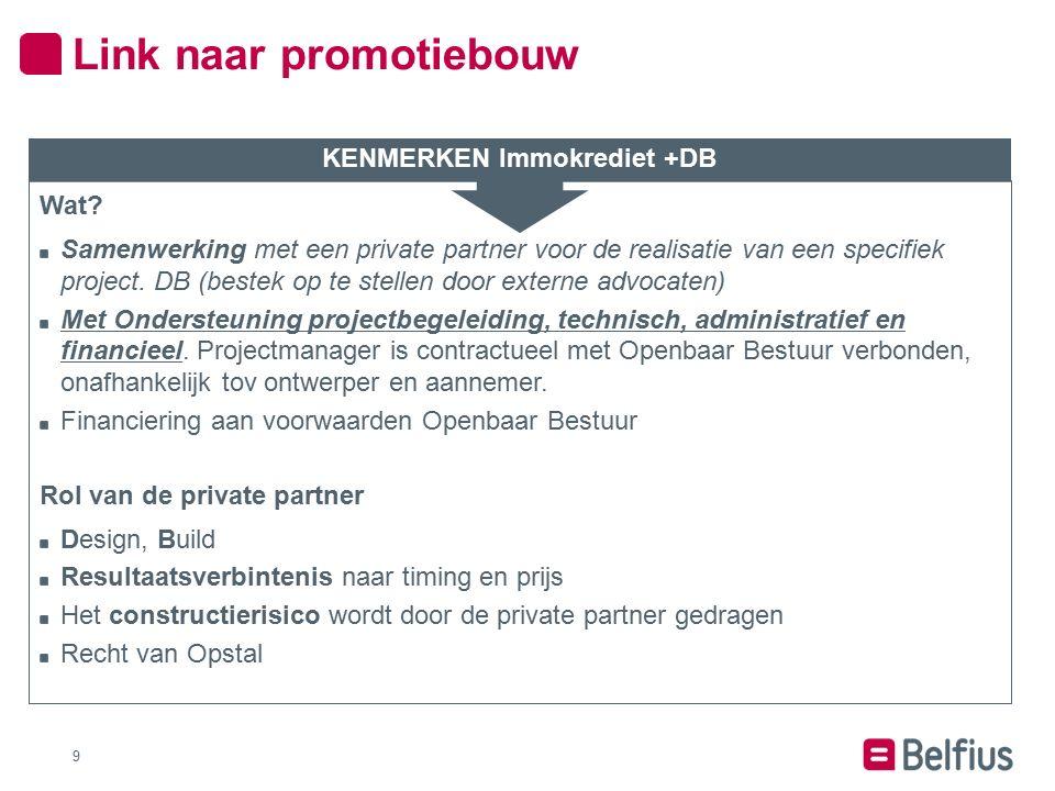 9 Wat? Samenwerking met een private partner voor de realisatie van een specifiek project. DB (bestek op te stellen door externe advocaten) Met Onderst