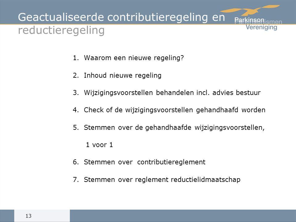 Geactualiseerde contributieregeling en reductieregeling 1.Waarom een nieuwe regeling.