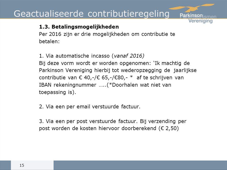 Geactualiseerde contributieregeling 1.3.
