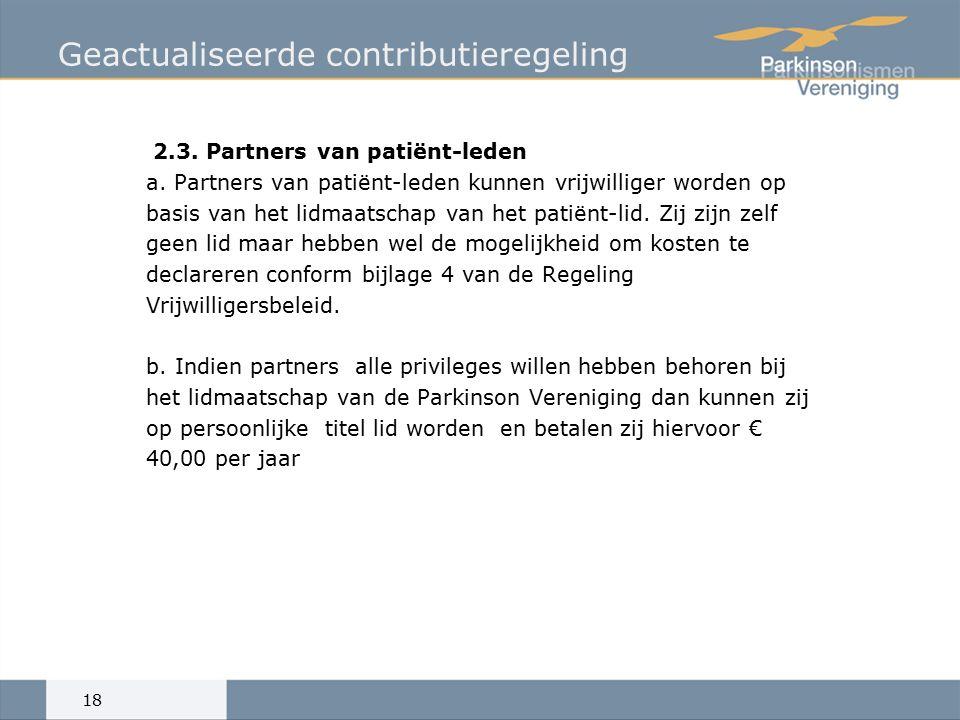 Geactualiseerde contributieregeling 2.3. Partners van patiënt-leden a.