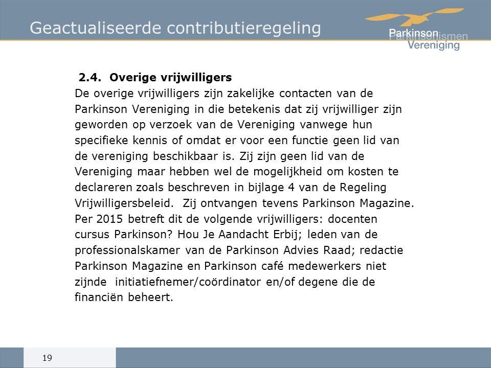 Geactualiseerde contributieregeling 2.4.
