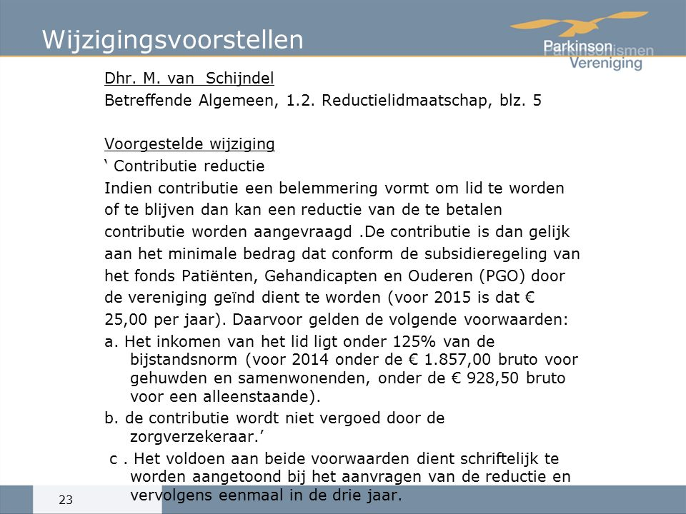 Wijzigingsvoorstellen Dhr.M. van Schijndel Betreffende Algemeen, 1.2.