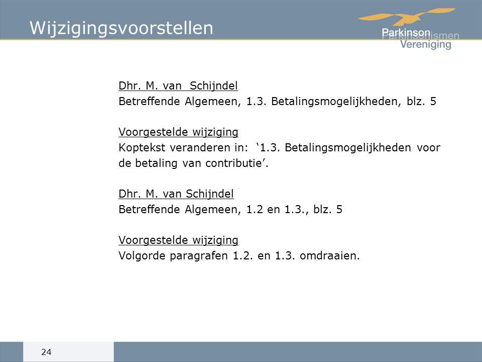 Wijzigingsvoorstellen Dhr. M. van Schijndel Betreffende Algemeen, 1.3.