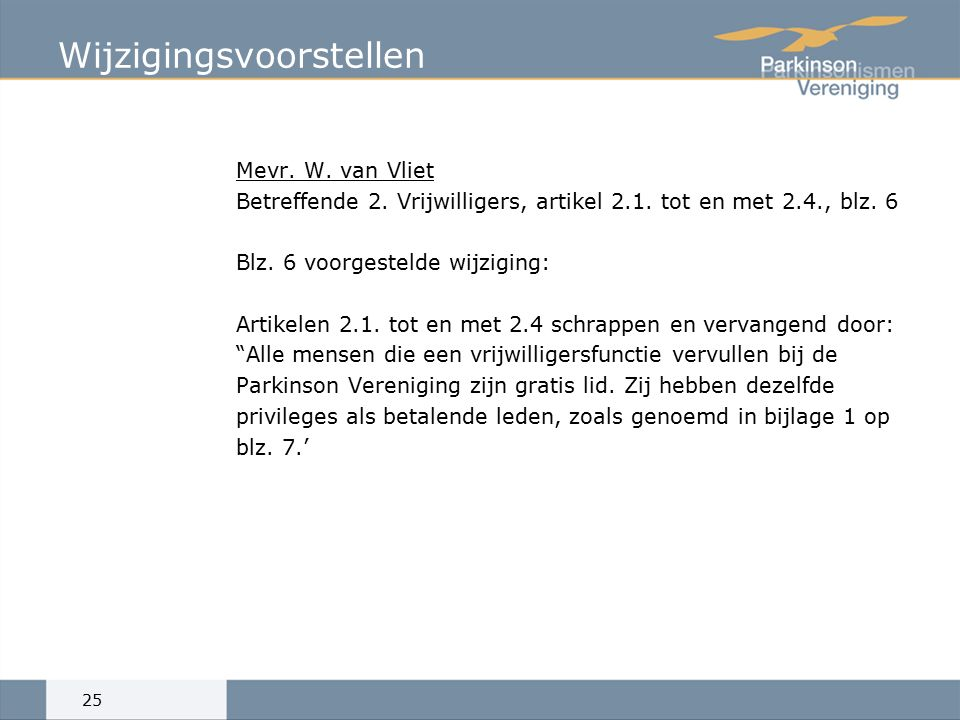 Wijzigingsvoorstellen Mevr.W. van Vliet Betreffende 2.