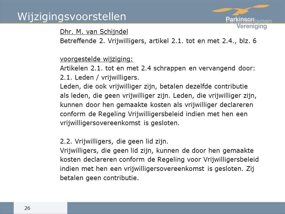 Wijzigingsvoorstellen Dhr.M. van Schijndel Betreffende 2.