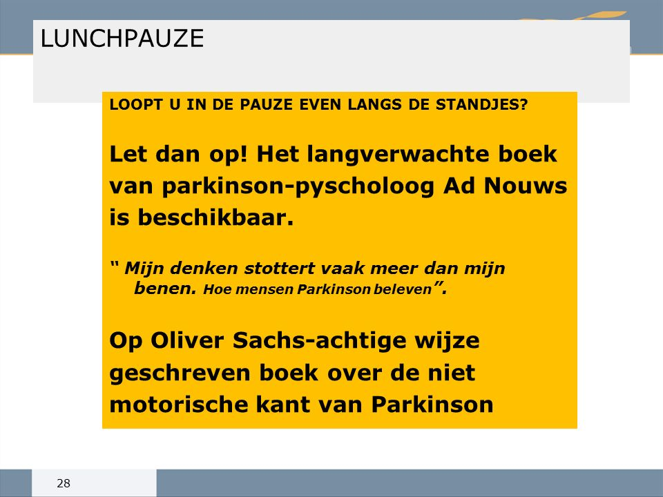 LUNCHPAUZE LOOPT U IN DE PAUZE EVEN LANGS DE STANDJES.