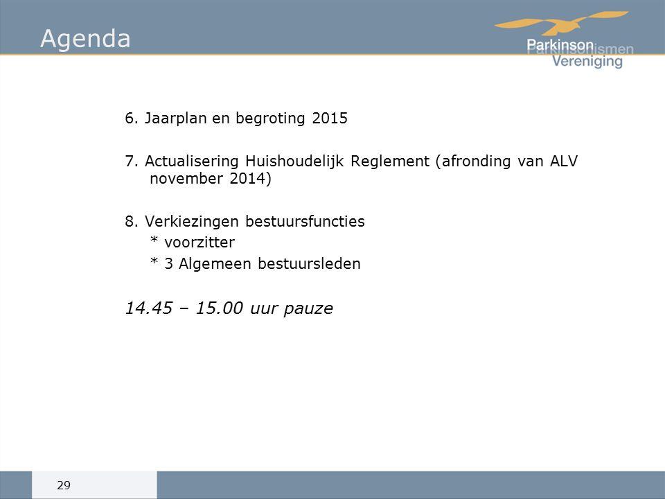 Agenda 6. Jaarplan en begroting 2015 7.
