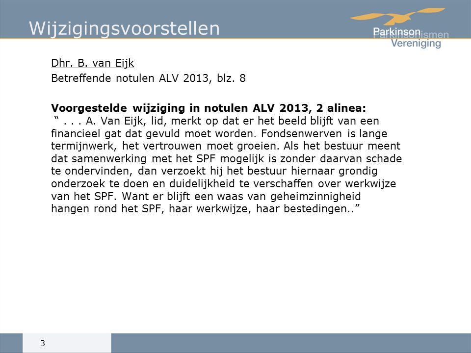 Wijzigingsvoorstellen Dhr. B. van Eijk Betreffende notulen ALV 2013, blz.